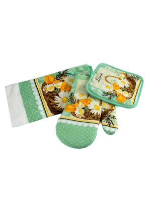 Набор кухонного текстиля: полотенце, прихватка, варежка Русские подарки. Цвет: бирюзовый, белый, коричневый, оранжевый