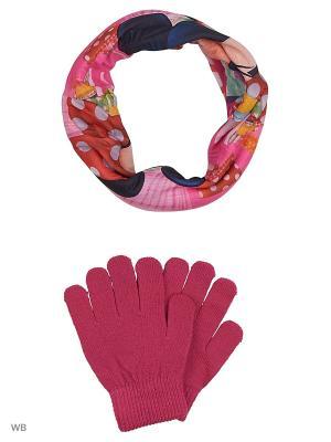 Комплект шарф-труба и перчатки Sun City. Цвет: розовый