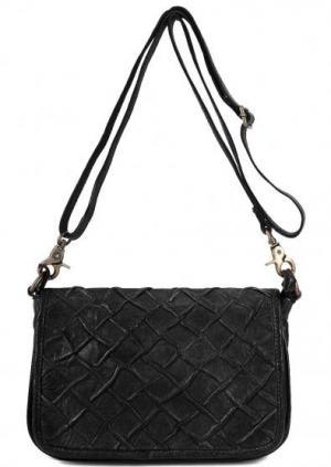 Маленькая кожаная сумка через плечо Taschendieb. Цвет: черный