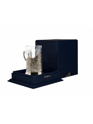 Набор для чая никелированный с чернением Храм Спаса на Крови (подстаканник + стакан футляр) Кольчугинъ. Цвет: серебристый