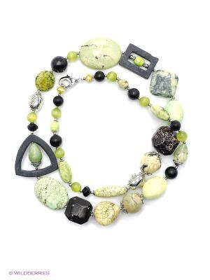 Колье Роман с камнем. Цвет: зеленый, черный