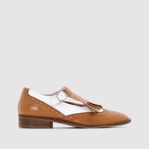 Ботинки-дерби из кожи MADEMOISELLE R. Цвет: белый/коньячный