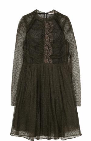 Приталенное кружевное мини-платье Dorothee Schumacher. Цвет: хаки