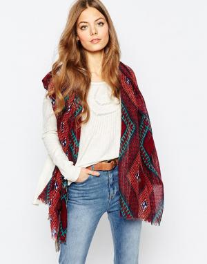 Becksondergaard Oversize-шарф с принтом в марокканском стиле. Цвет: красный