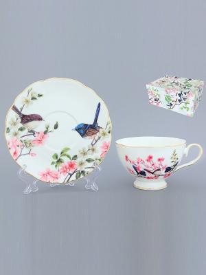 Чайная пара Райские птички Elan Gallery. Цвет: белый, розовый, синий