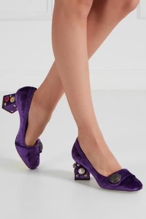 Бархатные туфли с отделкой Dolce&Gabbana. Цвет: фиолетовый