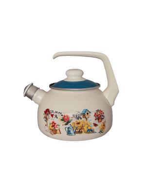 Чайник с бак. руч., со свистком 2,5 л METROT. Цвет: белый, желтый, синий