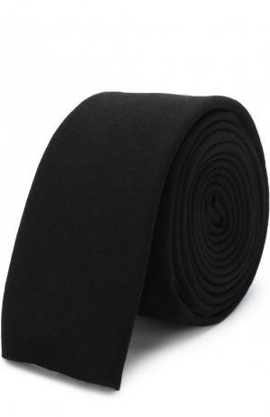 Шерстяной галстук с вышивкой Yohji Yamamoto. Цвет: черный