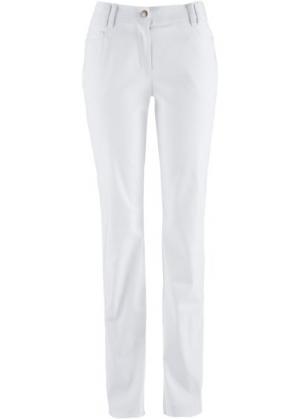 Узкие брюки из бенгалина с пятью карманами (белый) bonprix. Цвет: белый