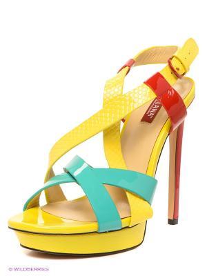 Босоножки MILANA. Цвет: желтый, зеленый, красный
