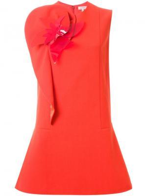 Платье с цветочной аппликацией Delpozo. Цвет: жёлтый и оранжевый