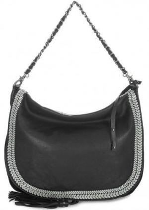 Кожаная сумка с длинной ручкой и плечевым ремнем Tyoulip Sisters. Цвет: черный