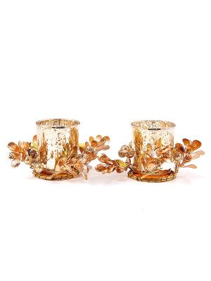 Подсвечник Золотой блеск на 2 свечи Русские подарки. Цвет: золотистый