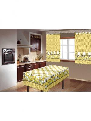 Комплект для кухни Утята скатерть150х180+шторы 150х180-2шт МарТекс. Цвет: желтый