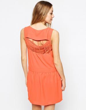 Colorblock Платье Color Block. Цвет: оранжевый