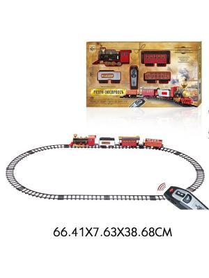 Железная дорога Ретро  Экспресс, свет,звук, дым, паровоз, 3 вагона, пду, 16 деталей,пути 148х86 1Toy. Цвет: серый