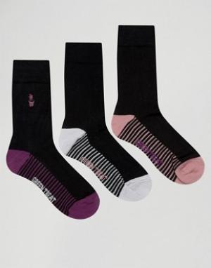 Green Treat 3 пары носков с контрастной пяткой. Цвет: черный