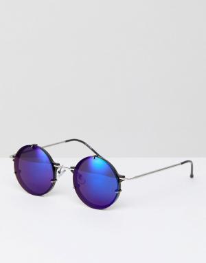 Spitfire Круглые солнцезащитные очки с синими зеркальными стеклами Inf. Цвет: серебряный