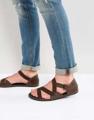 ASOS Коричневые кожаные сандалии. Цвет: коричневый