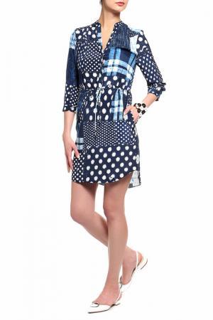 Платье-рубашка DIANE VON FURSTENBERG. Цвет: темно-синий, принт латки