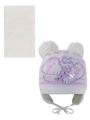 Шапка, шарф Pro-han. Цвет: молочный, розовый