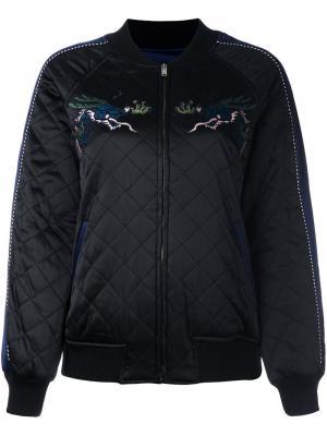 Стеганая куртка-бомбер с вышивкой Steve J & Yoni P. Цвет: чёрный