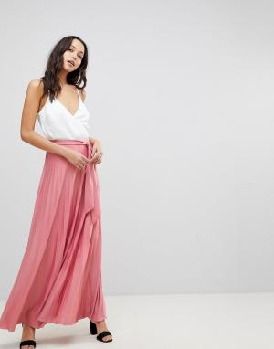 ASOS Плиссированная юбка макси с поясом. Цвет: розовый