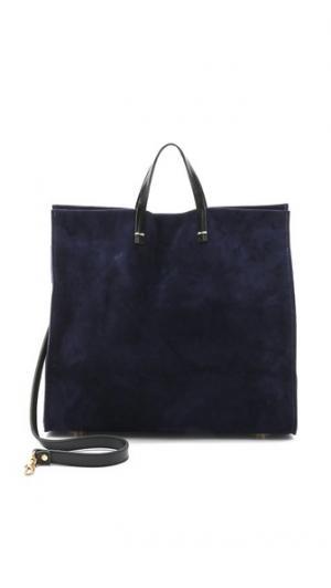 Простая замшевая объемная сумка с короткими ручками Clare V.
