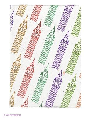 Обложка для автодокументов Биг Бены на молочном Mitya Veselkov. Цвет: белый, коричневый, фиолетовый
