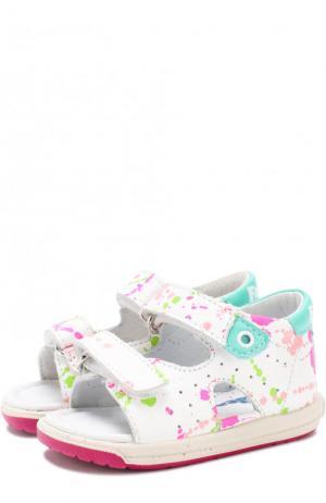 Кожаные сандалии с застежками велькро и принтом Falcotto. Цвет: фуксия