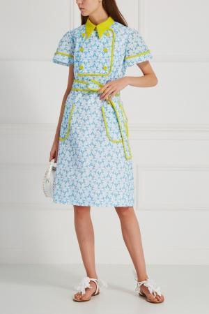 Хлопковое платье Delpozo. Цвет: белый, голубой