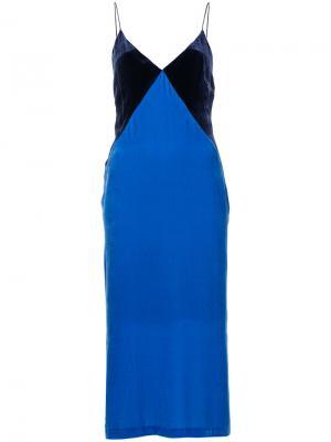 Платье дизайна колор-блок Dion Lee. Цвет: синий