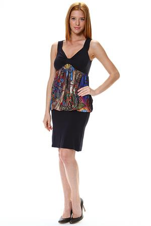 Платье с напуском из этнической вставки Piamente. Цвет: синий, мультицвет