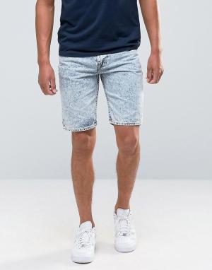 Bellfield Джинсовые шорты с эффектом кислотной стирки. Цвет: темно-синий