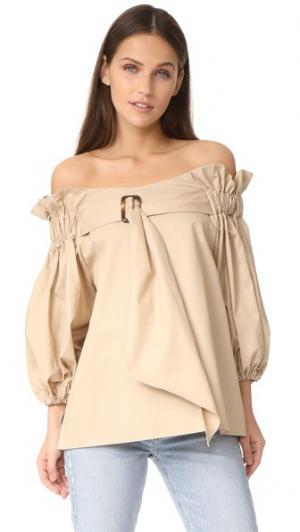 Блуза с поясом Style Mafia. Цвет: бежевый