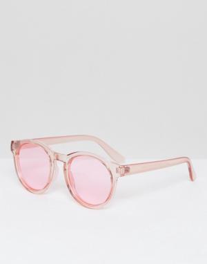 AJ Morgan Круглые солнцезащитные очки с розовыми затемненными стеклами. Цвет: розовый