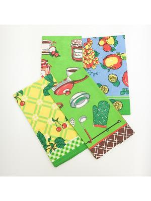 Набор полотенец, 4 шт A and C Collection. Цвет: желтый, зеленый