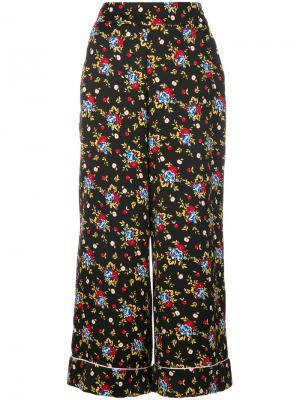 Расклешенные брюки с цветочным принтом Vivetta. Цвет: чёрный