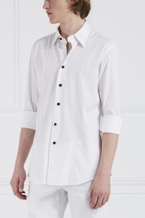 Хлопковая сорочка Angelo Galasso. Цвет: белый