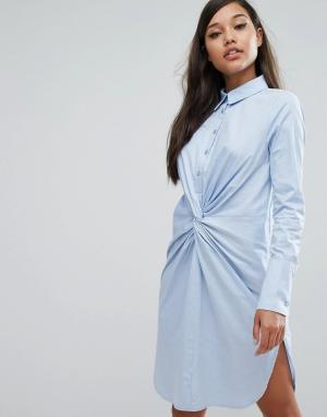 Lavish Alice Хлопковое платье-рубашка с перекрученным дизайном. Цвет: синий