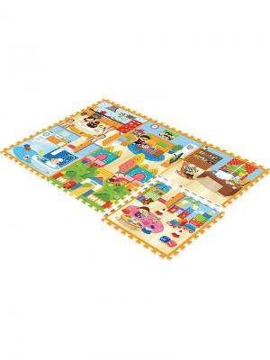 Детский коврик-пазл  Семейный дом 180х120х2 Mambobaby. Цвет: голубой