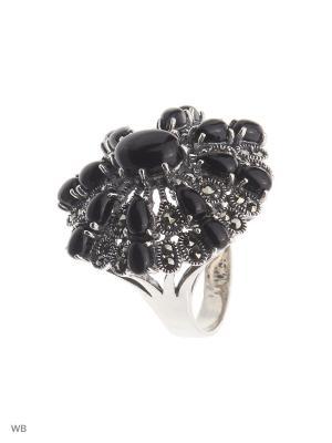 Кольцо МАРКАЗИТ. Цвет: черный, серебристый