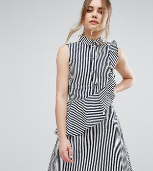 Closet London Платье-рубашка в полоску с оборкой. Цвет: мульти