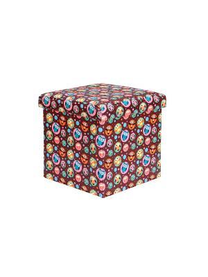 Пуф складной с ящиком для хранения Совы на коричневом EL CASA. Цвет: коричневый, голубой, оранжевый, розовый