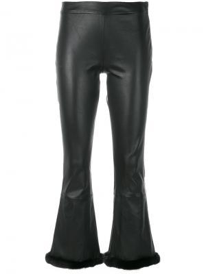 Укороченные брюки с искусственным мехом Simonetta Ravizza. Цвет: чёрный