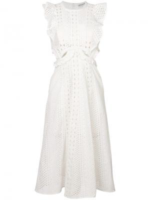 Платье с вышивкой ришелье и вырезами Self-Portrait. Цвет: белый