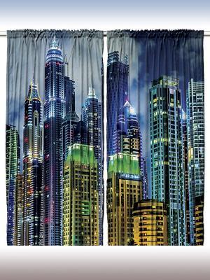 Фотошторы Яркие огни отелей Дубая, 290*265 см Magic Lady. Цвет: темно-синий, оранжевый