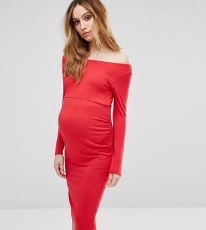 ASOS Maternity Платье для беременных с широким вырезом и длинными рукавами Mater. Цвет: красный