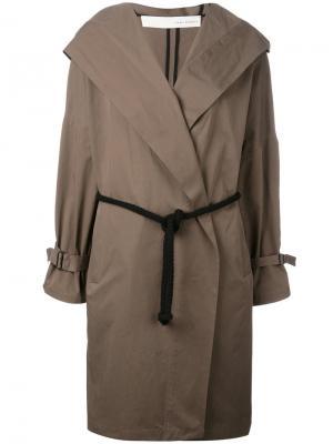 Belted hooded coat Isabel Benenato. Цвет: зелёный
