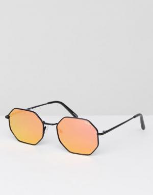 Quay Australia Черные солнцезащитные очки шестиугольной формы On A Dim. Цвет: черный